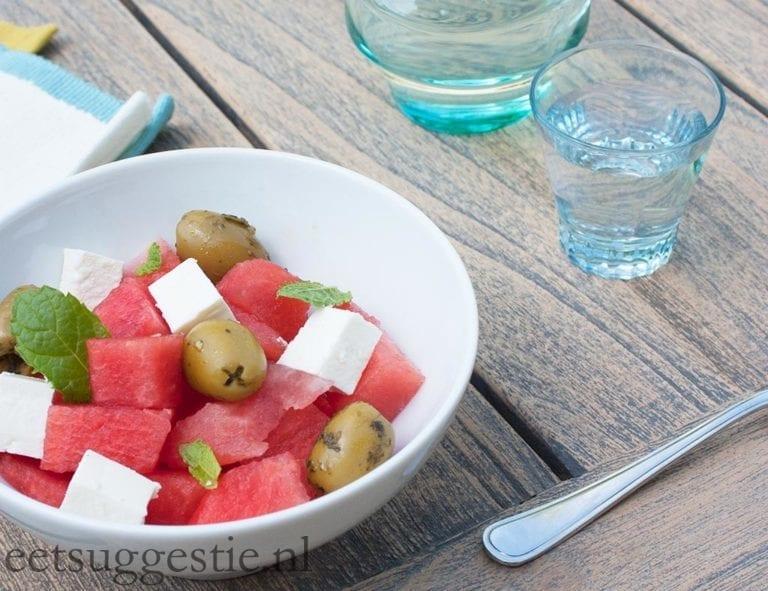 Vegetarische watermeloen salade met feta