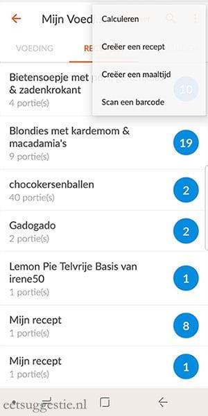 Recept invoeren via de Weight Watchers app (punten per portie)