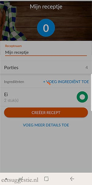eetsuggestie Recept toevoegen via de weight watchers app - stap 7