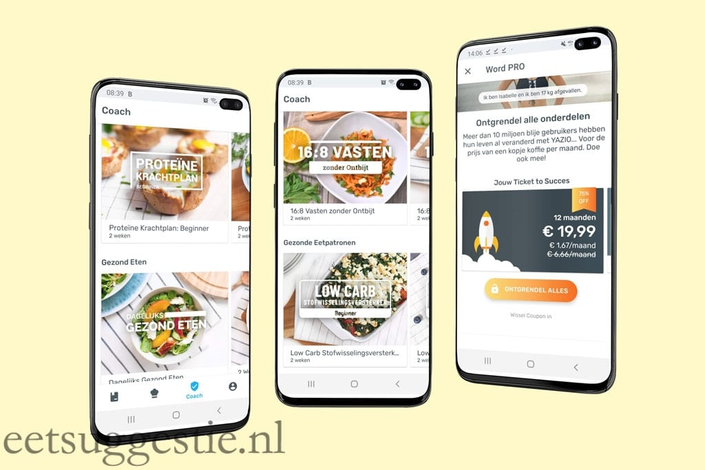 YAZIO afval app screenshots van eetsuggestie.nl