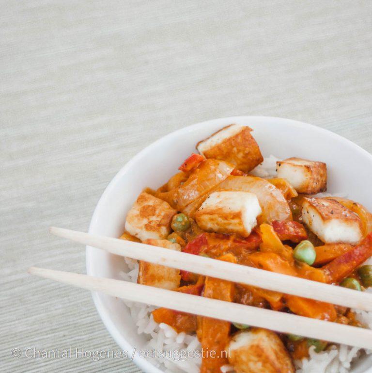 Vega curry met panir en rijst