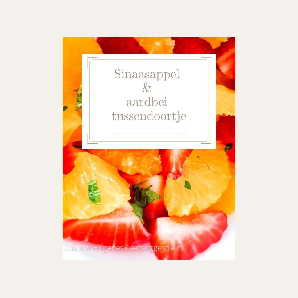 Sinaasappel aardbei salade met munt van eetsuggestie.nl