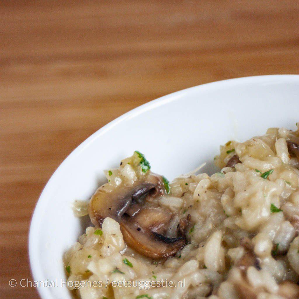 Vegan risotto met champignons van eetsuggestie.nl